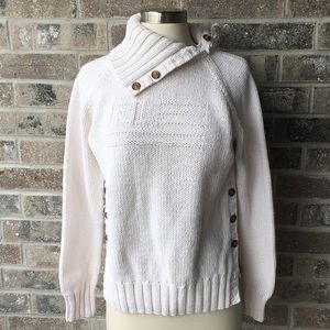 POLO JEANS CO White Knit Cowl Neck Sweater Flag L